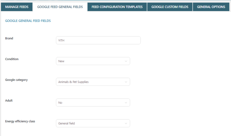 Google general feed fields