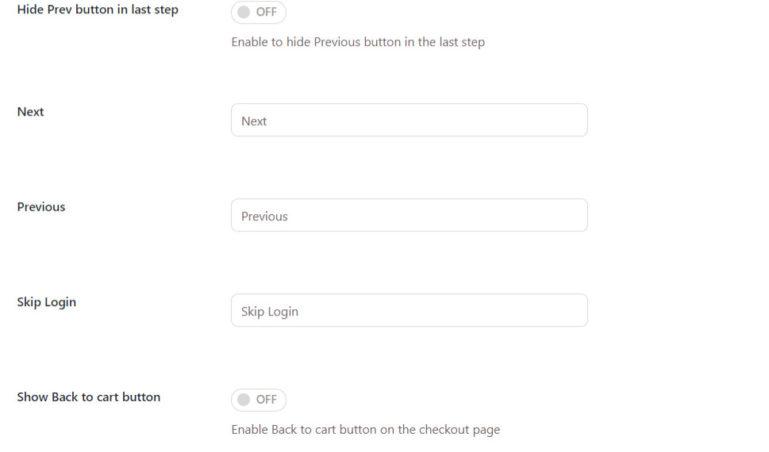 Navigation buttons - settings