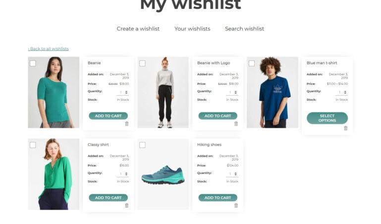 Wishlist content - Modern grid