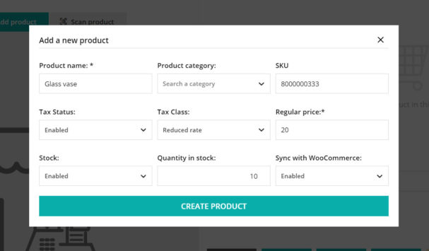 Add new product from Register