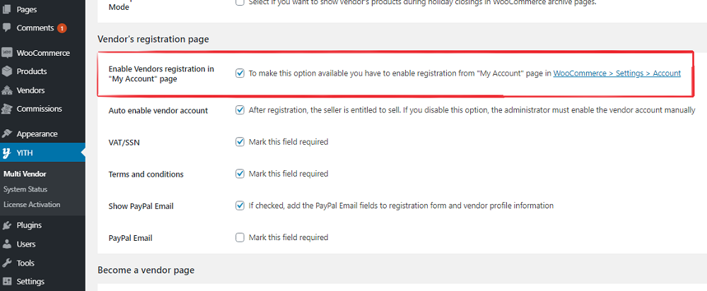 Enable registration page