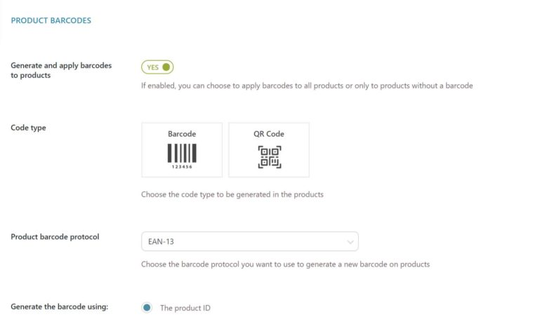 Product barcode settings (1/2)