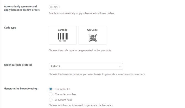 Order barcode settings
