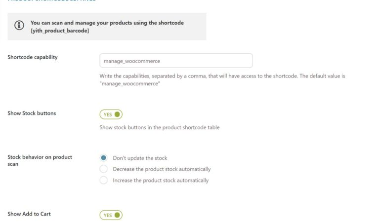 Product shortcode settings