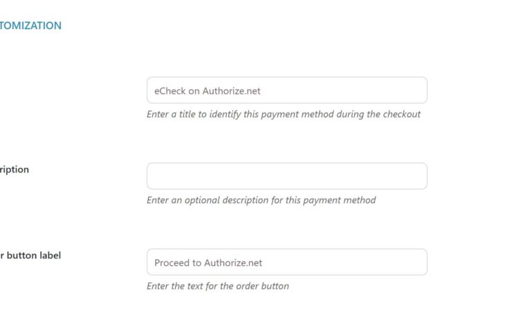 Echeck payment settings - customization