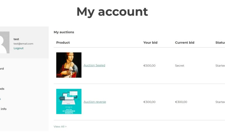 My account - My Auctions
