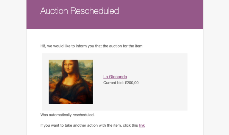 Auction rescheduled