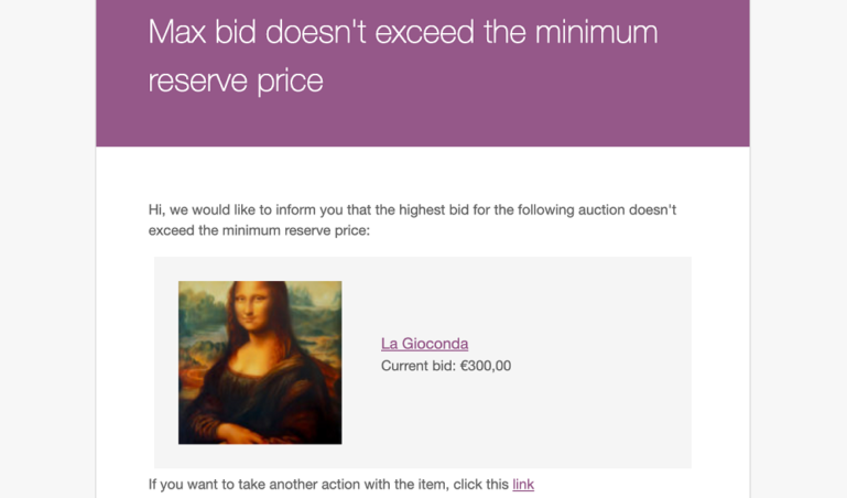 Reserve price not exceeded