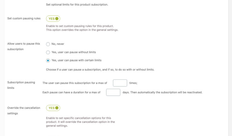 Subscription settings in simple product (2/2)