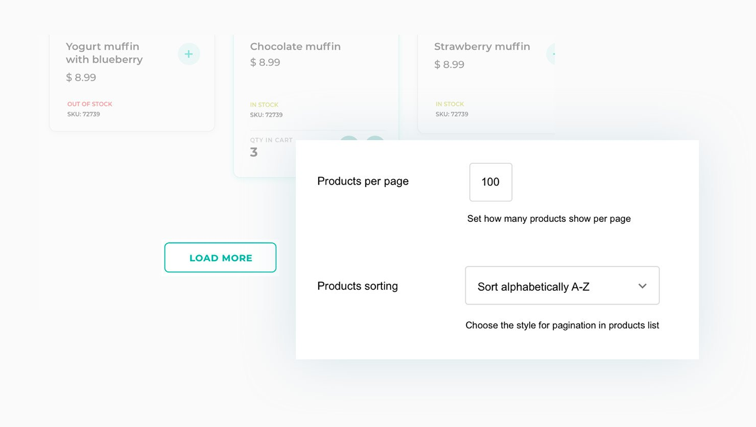 Products per page and sorting