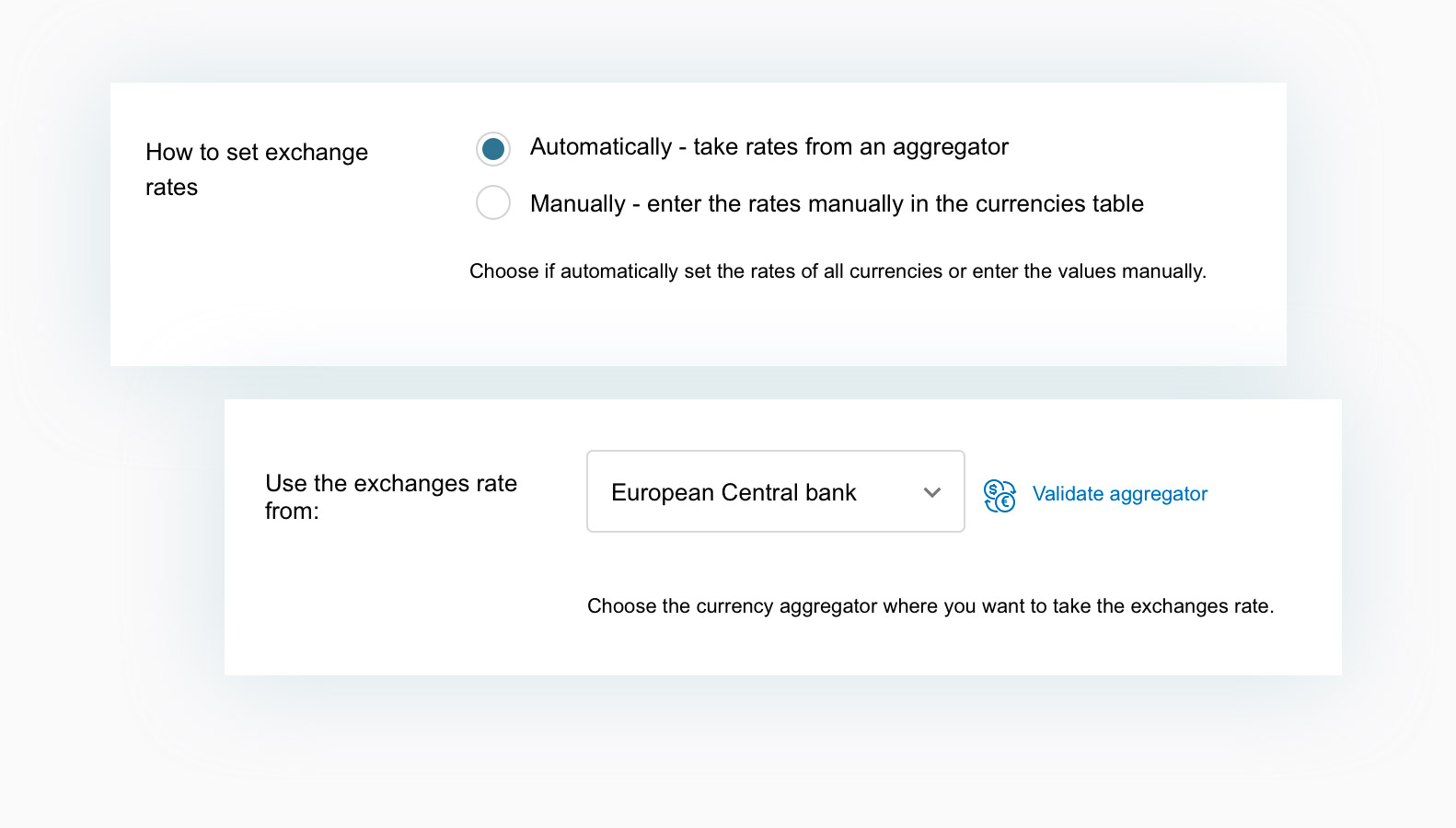 Manual automatic exchange rate
