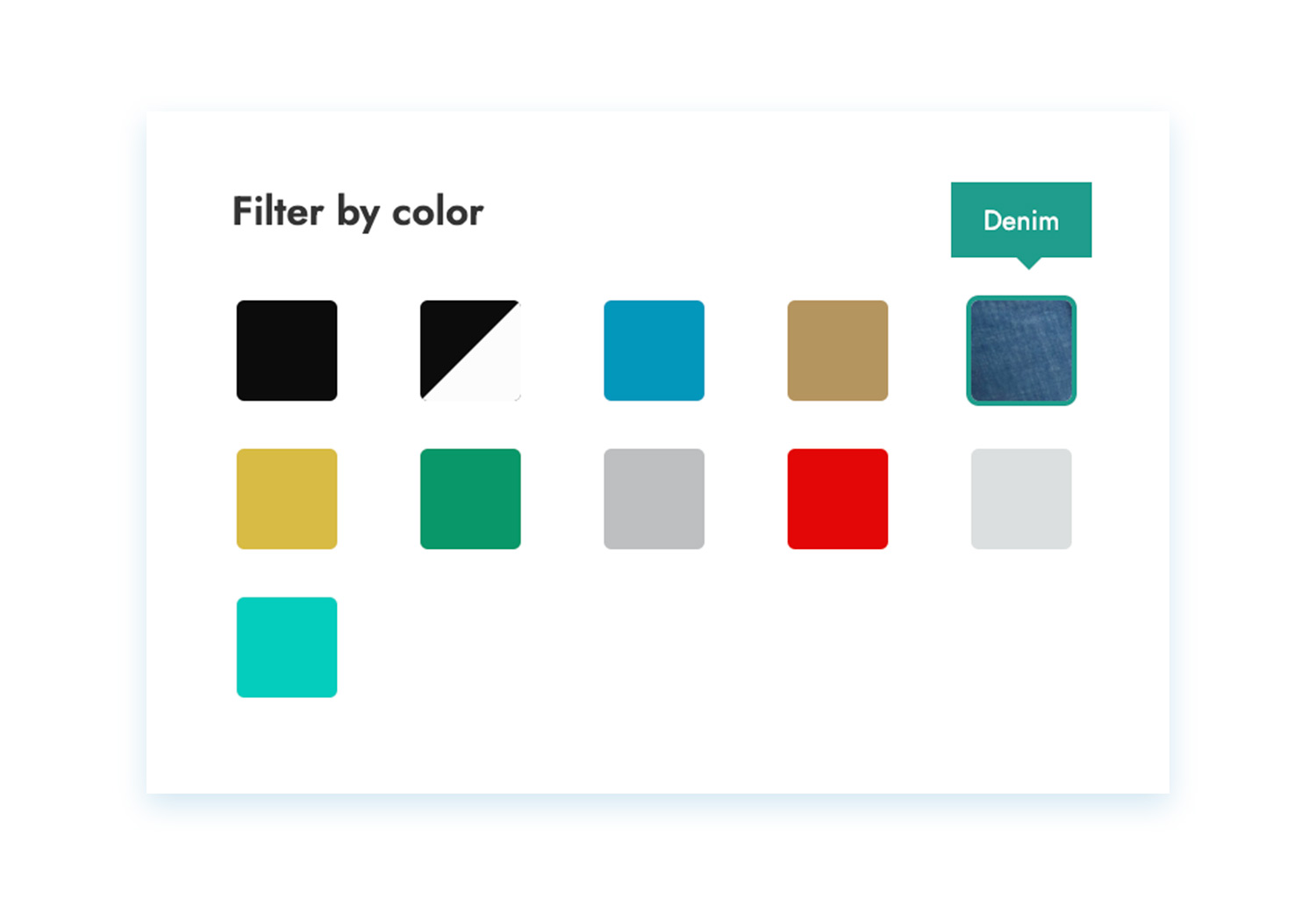 Filters color and image swatches