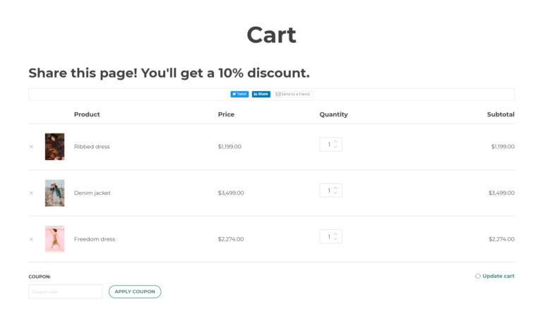 Sharing options on Cart page