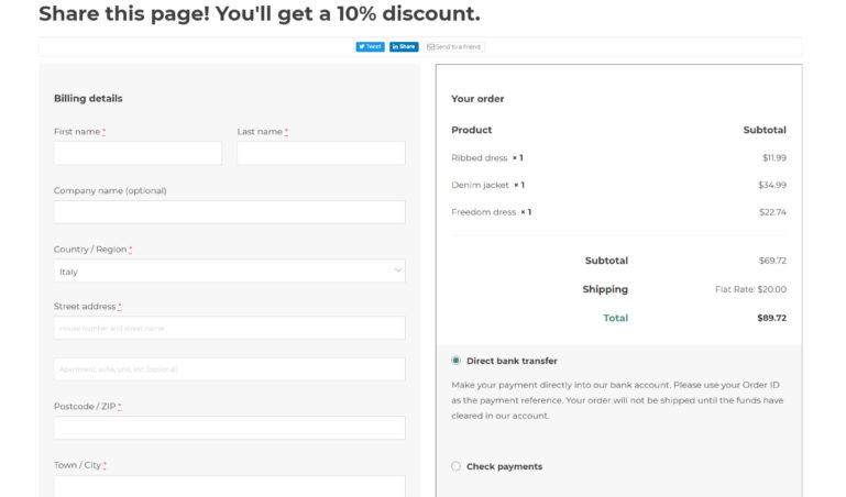 Sharing options on Checkout page