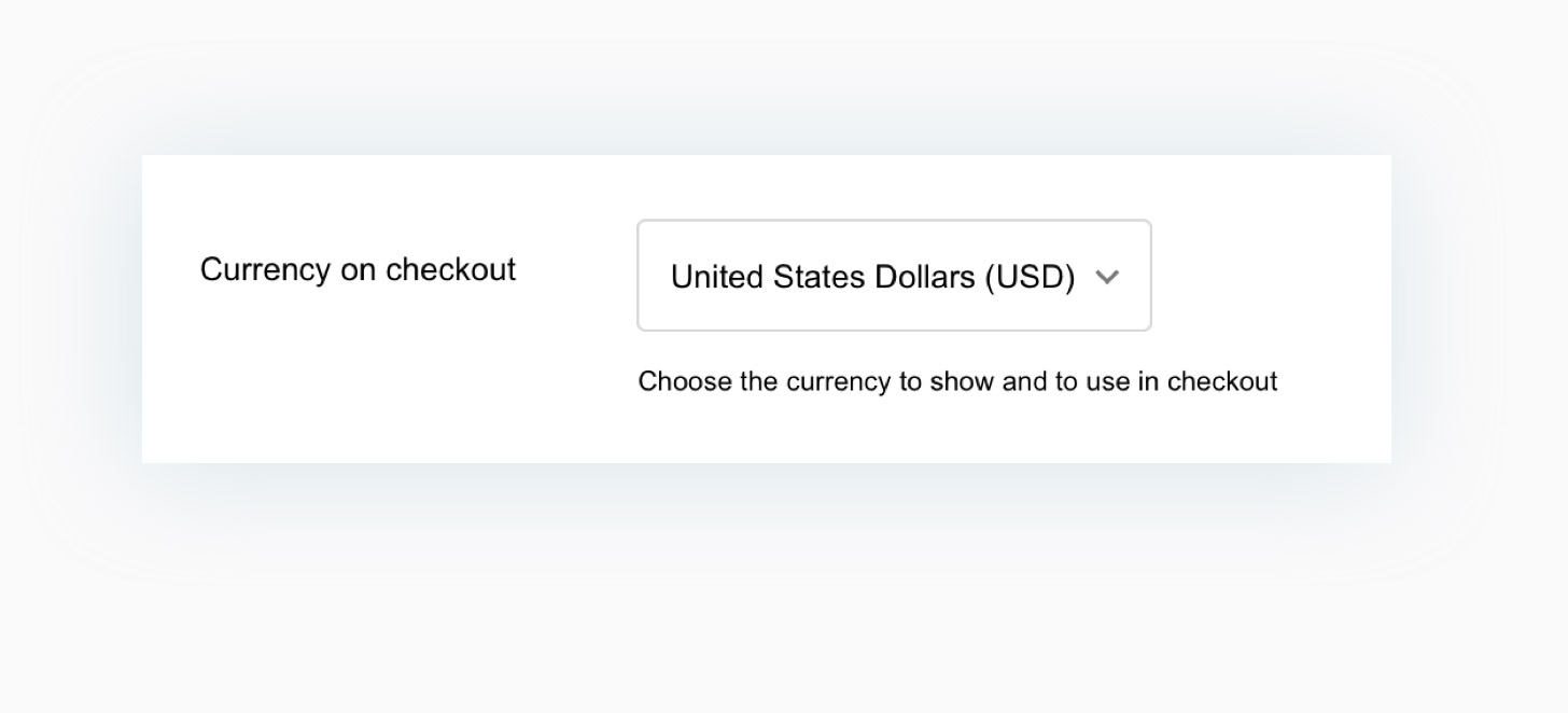 Default currency