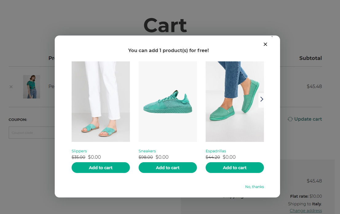 A modal to support upselling