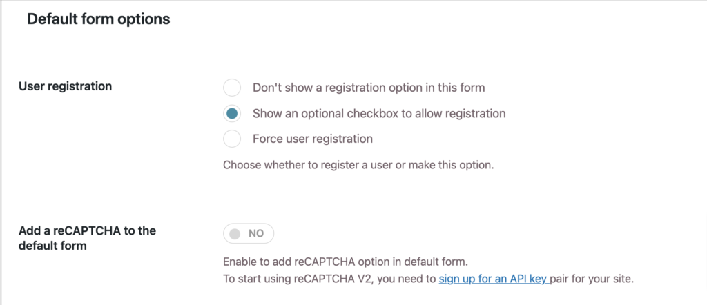 Select if the user needs to register when requesting a quote