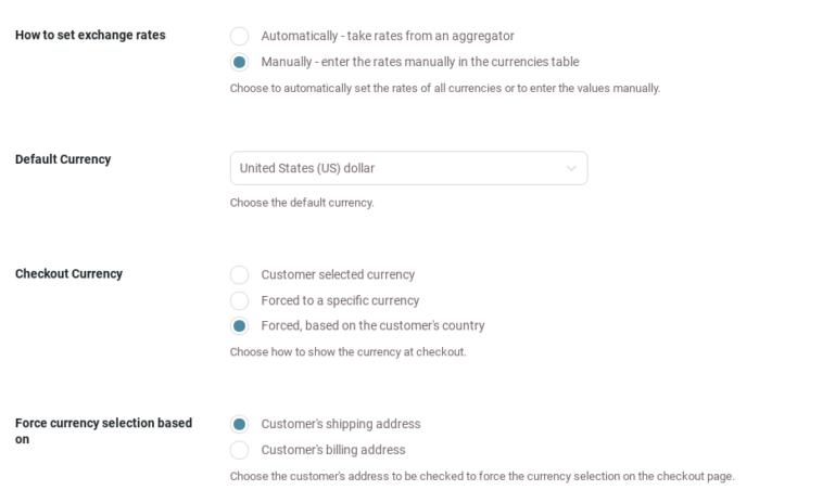 General settings - Manual rates