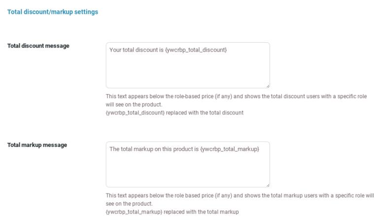 Total discount/markup settings