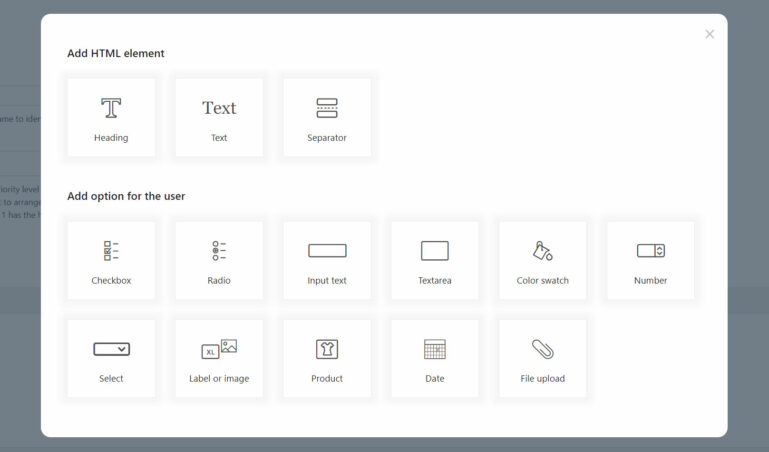 Types of options and HTML elements
