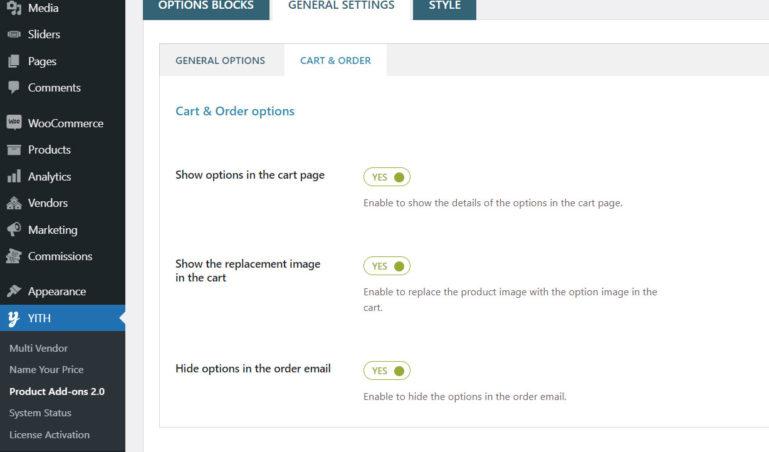Cart & Order options