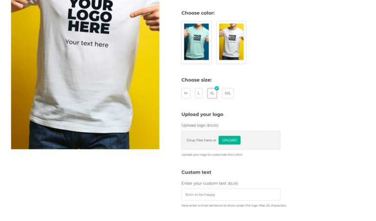 Custom T-shirt - with image, label, file and input text options
