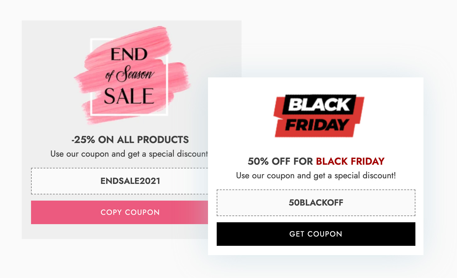Coupons notifications - Black Friday and End of season sale