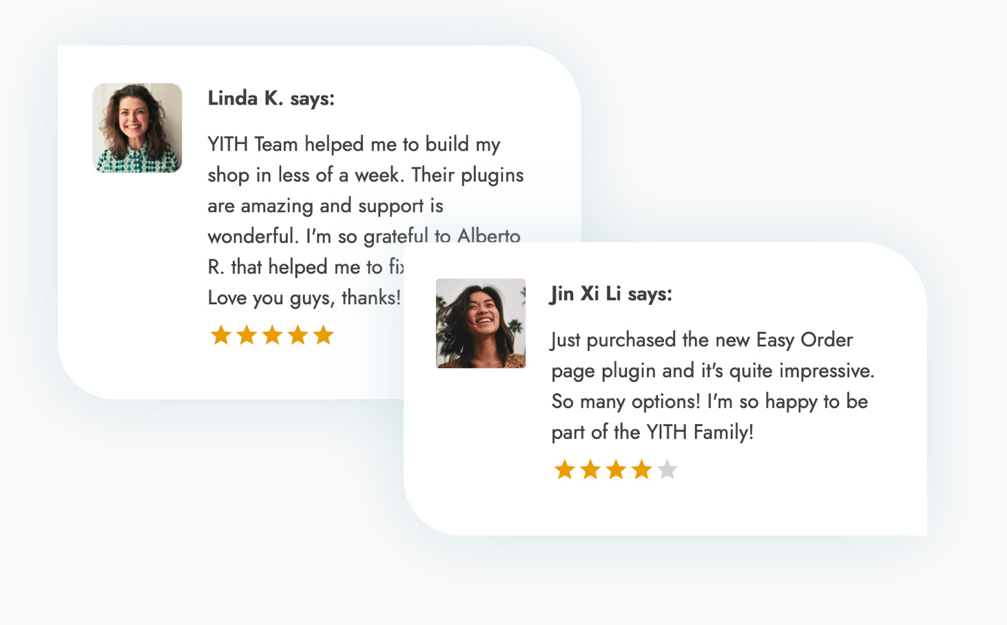 Positive testimonial reviews to increase your customer's trust