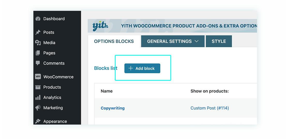 Add block option