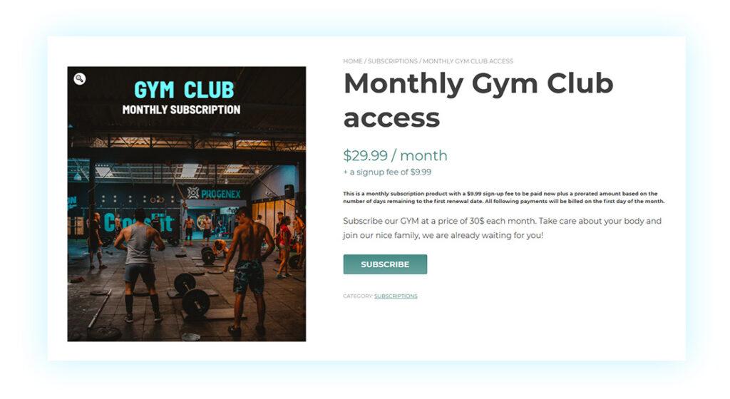 Gym memberships with recurring plan