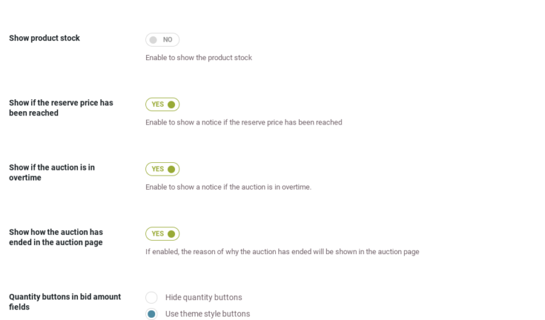 Auction page settings