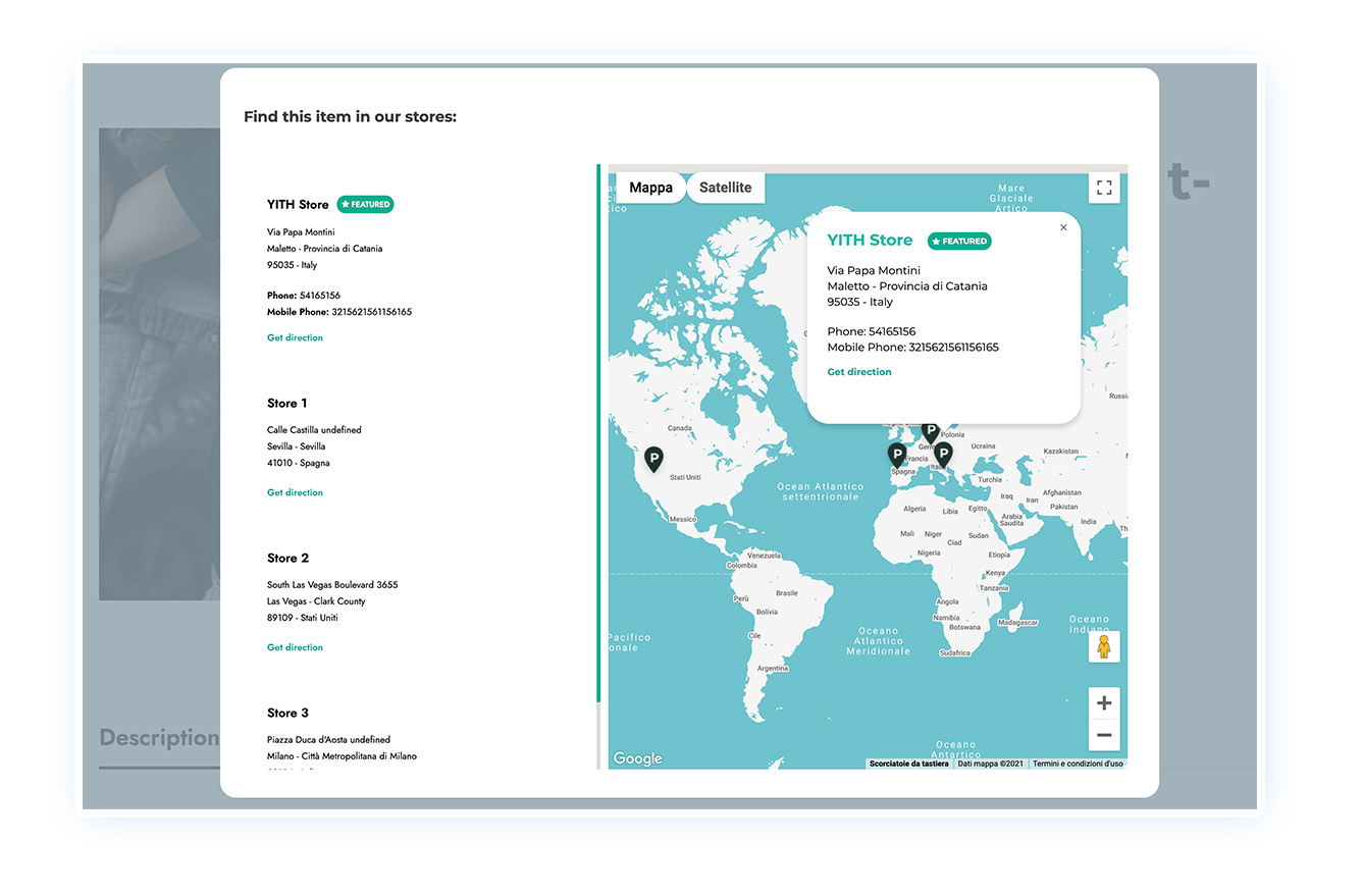 Show stores on the map in modal window
