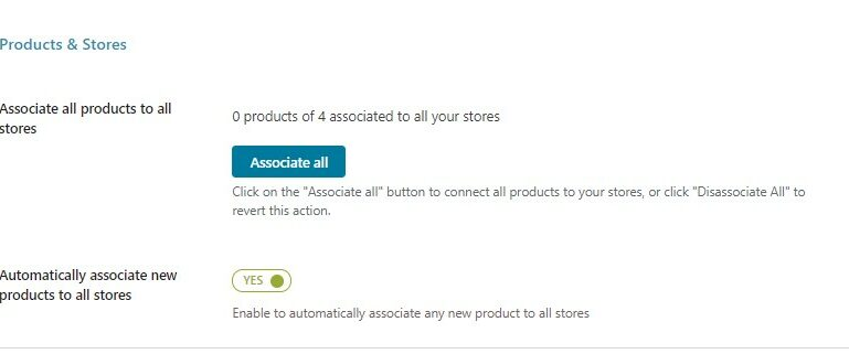 Associate all products to stores