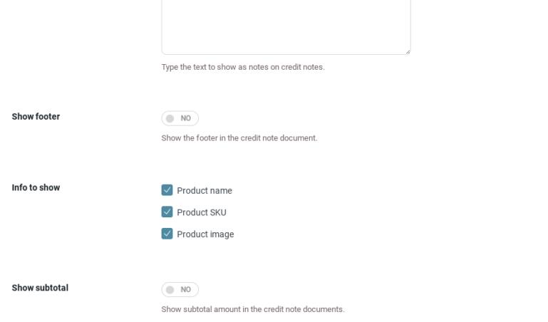 Credit note template settings