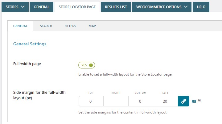 Store Locator Page - General settings