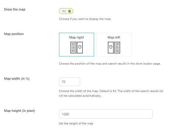 Store Locator Page - Map settings