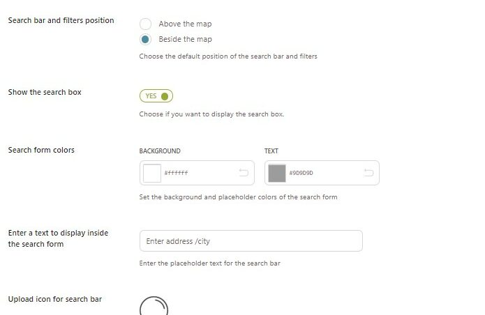 Store Locator Page - Search settings