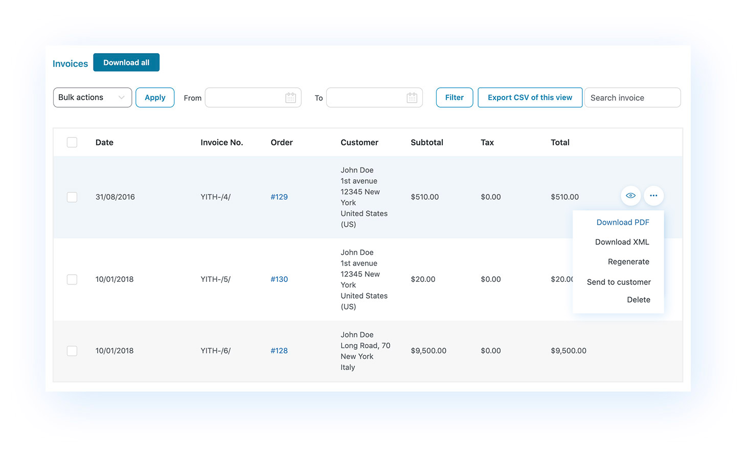 New panel for invoice management