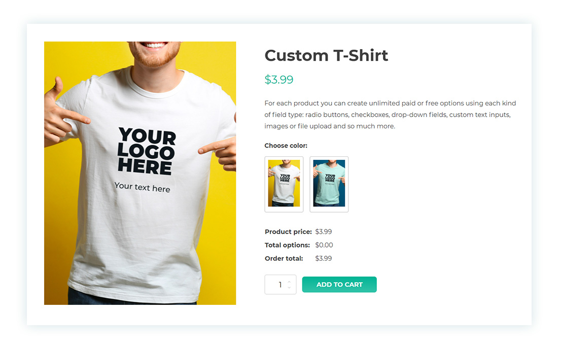 First option in product page