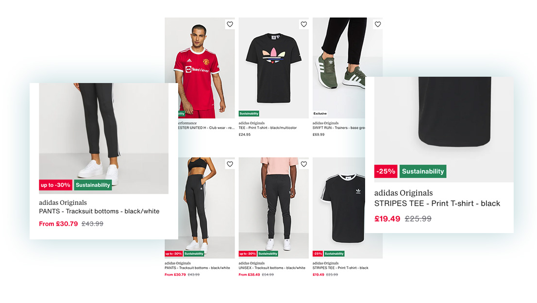 How Zalando shows badges for a mixture of features and pricing rules