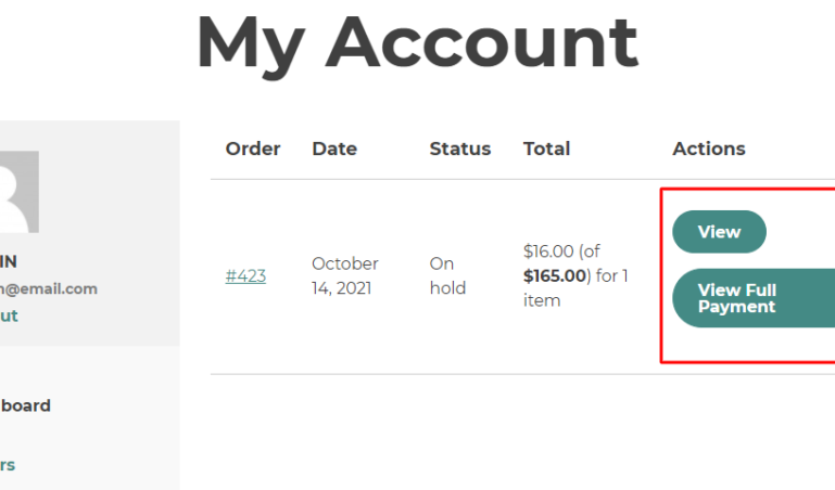 Deposits order on My account page